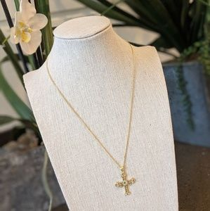 Jewelry - Gold cross with color dimonds 🌈
